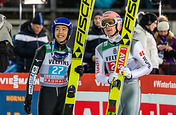 30.12.2018, Schattenbergschanze, Oberstdorf, GER, FIS Weltcup Skisprung, Vierschanzentournee, Oberstdorf, 1. Wertungsdurchgang, im Bild Naoki Nakamura (JPN) und Severin Freund (GER) // Naoki Nakamura of Japan and Severin Freund of Germany during his 1st Competition Jump for the Four Hills Tournament of FIS Ski Jumping World Cup at the Schattenbergschanze in Oberstdorf, Germany on 2018/12/30. EXPA Pictures © 2018, PhotoCredit: EXPA/ Peter Rinderer