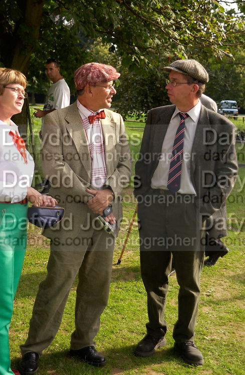 Peter kumlin and Borje Pettersson, The Duke of Richmond and Gordon's X1 V The Earl of March and Kinrara's X1. Cricket match before the Goodwood Revival meeting, 2 September 2004. SUPPLIED FOR ONE-TIME USE ONLY-DO NOT ARCHIVE. © Copyright Photograph by Dafydd Jones 66 Stockwell Park Rd. London SW9 0DA Tel 020 7733 0108 www.dafjones.com