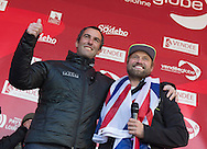 """The Vendee Globe 2016 - 2017<br /> British yachtsman Alex Thomson skipper of the 'Hugo Boss""""  IMOCA Open60. He finished 2nd in the Vendee Globe solo non stop around the world yacht race.Shown here entering the race village and celebrating with family after completing the solo non stop around the world race in 74days. 19hours and 35 minutes<br /> <br /> Photo by Lloyd Images"""
