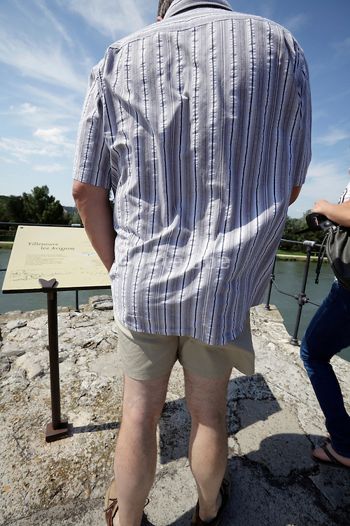 male person seen from behind reading informational text at a tourist attraction