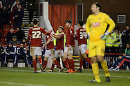 Nottingham Forest striker Jamie Ward celebrates third goal during the Sky Bet Championship match between Nottingham Forest and Bolton Wanderers at the City Ground, Nottingham, England on 16 January 2016. Photo by Alan Franklin.