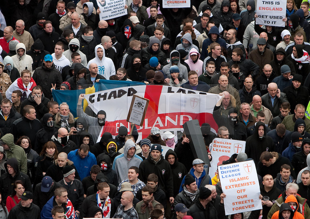© under license to London News Pictures. 5/02/20011. Thousands of EDL (English Defence League) members and supporters march through the town centre of Luton today (05/02/2011) to protest agains sharia Law. Photo credit should LNP.