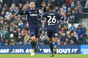 GOAL - Derby County defender Ashley Cole (26)  celebrates with Derby County defender Richard Keogh (6) 2-1 during the The FA Cup 5th round match between Brighton and Hove Albion and Derby County at the American Express Community Stadium, Brighton and Hove, England on 16 February 2019.