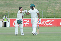 Johannesburg 19-12-18. South Africa Invitation XI vs Pakistan. Pakistan open their tour of South Africa with a three-day match at Sahara Willowmoore Park, Benoni. Day 1. Marques Ackerman is congratulated by his batting partner Thandolwethu Mnyaka after getting his century during the late afternoon session.  Picture: Karen Sandison/African News Agency(ANA)