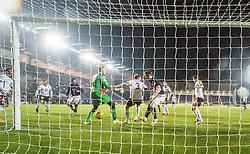 Falkirk's Bob McHugh scoring their second goal. Falkirk 3 v 1 St Mirren, Scottish Championship game played 3/12/2016 at The Falkirk Stadium.