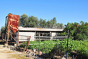 Israel, Galilee, a deserted and disused chicken coop with feeding silo on a Moshav