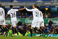 Gylfi Sigudsson of Swansea City (r) celebrates with his teammates after scoring his teams 1st goal. Premier league match, Everton v Swansea city at Goodison Park in Liverpool, Merseyside on Saturday 19th November 2016.<br /> pic by Chris Stading, Andrew Orchard sports photography.