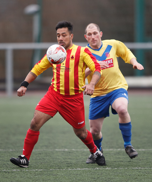 Former Celtic star Bobby Petta debut for Rossvale FC v Johnstone Burgh in the West of Scotland Central League Div 1 at Petershill Park, Springburn , Glasgow.  In action with Ross Perrie.  Picture Robert Perry 20th Feb 2016<br /> <br /> Please credit photo to Robert Perry<br /> <br /> FEE PAYABLE FOR REPRO USE<br /> FEE PAYABLE FOR ALL INTERNET USE<br /> www.robertperry.co.uk<br /> NB -This image is not to be distributed without the prior consent of the copyright holder.<br /> in using this image you agree to abide by terms and conditions as stated in this caption.<br /> All monies payable to Robert Perry<br /> <br /> (PLEASE DO NOT REMOVE THIS CAPTION)<br /> This image is intended for Editorial use (e.g. news). Any commercial or promotional use requires additional clearance. <br /> <br /> Copyright 2016 All rights protected.<br /> first use only<br /> contact details<br /> Robert Perry     <br /> 07702 631 477<br /> robertperryphotos@gmail.com<br />   <br /> Robert Perry reserves the right to pursue unauthorised use of this image . If you violate my intellectual property you may be liable for  damages, loss of income, and profits you derive from the use of this image.