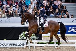 GRAVES Laura (USA), Verdades<br /> Göteborg - Gothenburg Horse Show 2019 <br /> FEI Dressage World Cup™ Final I<br /> Int. dressage competition - Grand Prix de Dressage<br /> Longines FEI Jumping World Cup™ Final and FEI Dressage World Cup™ Final<br /> 05. April 2019<br /> © www.sportfotos-lafrentz.de/Stefan Lafrentz