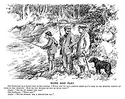 """Work and play. Old gentleman (by a scotch river in late evening). """"Well, you've had a pretty stiff day's work if you started fishing at four in the morning. How do you manage to get so much time?"""" Angler. """"We're on strike the noo."""" Old gentleman. """"What for?"""" Angler. """"We're strikin' for a seeven-oor day."""""""