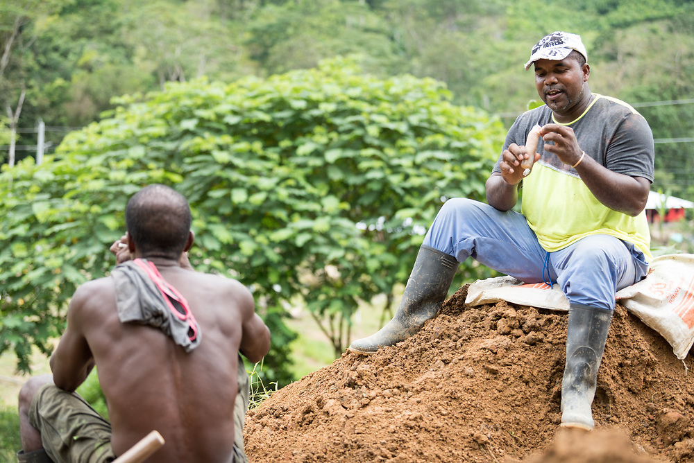 16 November 2018, San José de León, Mutatá, Antioquia, Colombia: Community member Manuel (right) enjoys a brief break in building a tank to keep rain water from sinking too quickly into the ground. Instead, the tank will hold the water and help feed the community's many ponds of farmed fish. Following the 2016 peace treaty between FARC and the Colombian government, a group of ex-combatant families have purchased and now cultivate 36 hectares of land in the territory of San José de León, municipality of Mutatá in Antioquia, Colombia. A group of 27 families first purchased the lot of land in San José de León, moving in from nearby Córdoba to settle alongside the 50-or-so families of farmers already living in the area. Today, 50 ex-combatant families live in the emerging community, which hosts a small restaurant, various committees for community organization and development, and which cultivates the land through agriculture, poultry and fish farming. Though the community has come a long way, many challenges remain on the way towards peace and reconciliation. The two-year-old community, which does not yet have a name of its own, is located in the territory of San José de León in Urabá, northwest Colombia, a strategically important corridor for trade into Central America, with resulting drug trafficking and arms trade still keeping armed groups active in the area. Many ex-combatants face trauma and insecurity, and a lack of fulfilment by the Colombian government in transition of land ownership to FARC members makes the situation delicate. Through the project De la Guerra a la Paz ('From War to Peace'), the Evangelical Lutheran Church of Colombia accompanies three communities in the Antioquia region, offering support both to ex-combatants and to the communities they now live alongside, as they reintegrate into society. Supporting a total of more than 300 families, the project seeks to alleviate the risk of re-victimization, or relapse into violent conflict