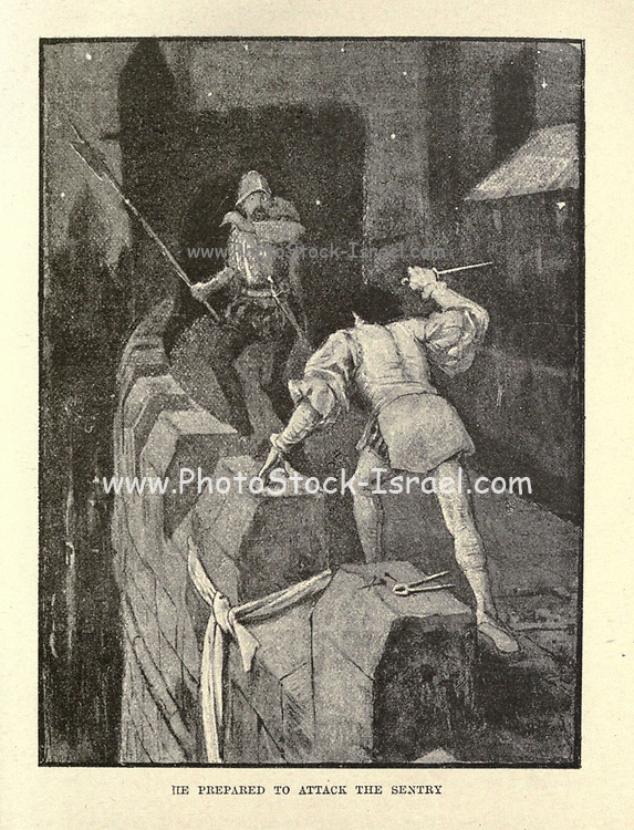 He prepared to attack the Sentry Illustrating the story ' Artist's Adventure ' From the book ' The true story book ' Edited by ANDREW LANG illustrated by L. BOGLE, LUCIEN DAVIS, H. J. FORD, C. H. M. KERR, and LANCELOT SPEED. Published by Longmans, Green, and Co. London and New York in 1893