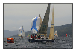 Yachting- The first days inshore racing  of the Bell Lawrie Scottish series 2002 at Tarbert Loch Fyne. Near perfect conditions saw over two hundred yachts compete. <br />X 332 Tundra  GBR3072 rounding Leeward mark.<br /><br />Class 3<br />Pics Marc Turner / PFM