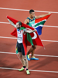 London, August 10 2017 . Ramil Guliyev, Turkey, Wayde van Niekerk, South Africa, the gold and silver medalists in the men's 200m final on day seven of the IAAF London 2017 world Championships at the London Stadium. © Paul Davey.