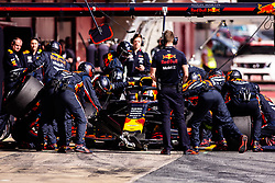 February 28, 2019 - Montmelo, BARCELONA, Spain - Pierre Gasly from France with 10 Aston Martin Red Bull Racing - Honda RB15 in action practicing pit stops during the Formula 1 2019 Pre-Season Tests at Circuit de Barcelona - Catalunya in Montmelo, Spain on February 28. (Credit Image: © AFP7 via ZUMA Wire)