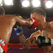 Larry Pryor (L) catches Radivvoje Kalajdzic with a right hand to the face during the Telemundo Boxeo boxing match at the A La Carte Pavilion on Friday,  March 13, 2015 in Tampa, Florida.  Kalajdzic  won the bout after the referee stopped the fight. (AP Photo/Alex Menendez)