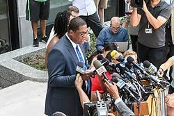 June 13, 2017 - Norristown, Pennsylvania, U.S - Bill Cosby's, spokes person, ANDREW WYATT, on the second day of jury deliberations gives a presser to discuss evidence that was not allowed by the Judge in the Cosby sexual assault case in Montgomery County PA (Credit Image: © Ricky Fitchett via ZUMA Wire)