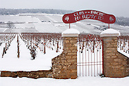 Latricieres vineyard gate in the snow. Chambertin Clos de Vin - Cote D'or, beaune, France. .<br /> <br /> Visit our FRANCE HISTORIC PLACES PHOTO COLLECTIONS for more photos to download or buy as wall art prints https://funkystock.photoshelter.com/gallery-collection/Pictures-Images-of-France-Photos-of-French-Historic-Landmark-Sites/C0000pDRcOaIqj8E