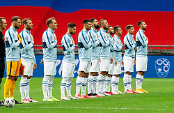 Players of Slovenia listening to the National anthem during the UEFA Nations League C Group 3 match between Slovenia and Moldova at Stadion Stozice, on September 6th, 2020. Photo by Vid Ponikvar / Sportida