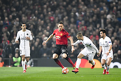 February 12, 2019 - Manchester, France - 11 ANGEL DI MARIA (PSG) - 31 EDERSON (MAN) - 14 JUAN BERNAT  (Credit Image: © Panoramic via ZUMA Press)