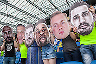 Brighton fans with giant images of the heads of their favourites at the live beamback at the American Express Community Stadium in Brighton during the Sky Bet Championship match between Middlesbrough and Brighton and Hove Albion at the Riverside Stadium, Middlesbrough, England on 7 May 2016. Photo by Bennett Dean.