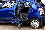 Crashed tourist car in Ciego de Avila, Cuba.