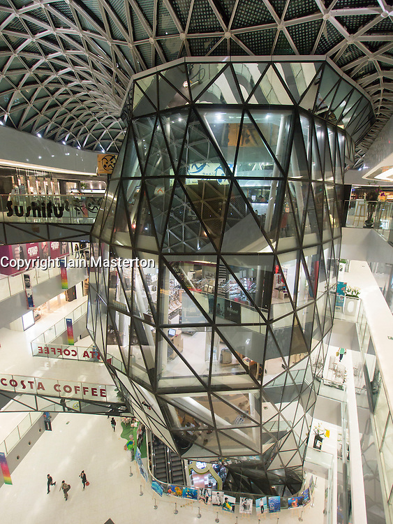 Interior of Raffles City shopping mall in Beijing China