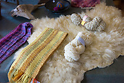 Fleece and skeins of local wool - Lambswool - from Highland sheep on display at Croft Wools and Weavers, Applecross in the Highlands of Scotland