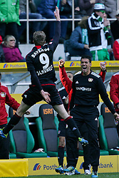15.10.2011,  BorussiaPark, Mönchengladbach, GER, 1.FBL, Borussia Mönchengladbach vs Bayer 04 Leverkusen, im Bild.Torjubel / Jubel  Andre Schürrle (Leverkusen #9) nach dem 2:2 mit Michael Ballack (Leverkusen #13) (R)..// during the 1.FBL, Borussia Mönchengladbach vs Bayer 04 Leverkusen on 2011/10/13, BorussiaPark, Mönchengladbach, Germany. EXPA Pictures © 2011, PhotoCredit: EXPA/ nph/  Mueller *** Local Caption ***       ****** out of GER / CRO  / BEL ******