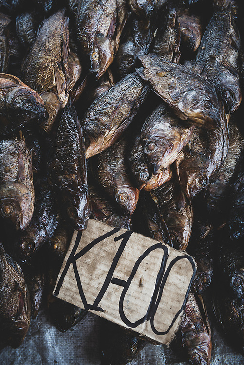 Smoked fish displayed for sale for one kina at the market in Wewak, Papua New Guinea.<br /> <br /> (July 21, 2017)