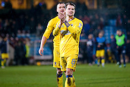 AFC Wimbledon midfielder Jake Reeves (8)  applauds the fans after the EFL Sky Bet League 1 match between Scunthorpe United and AFC Wimbledon at Glanford Park, Scunthorpe, England on 28 February 2017. Photo by Simon Davies.