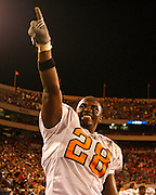 Tennessee TE Chris Brown salutes the crowd after the game between the Georgia Bulldogs and the Tennessee Volunteers at Sanford Stadium in Athens, GA on October 7, 2006.<br />