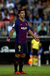 October 7, 2018 - Valencia, Valencia, Spain - Luis Suarez during the week 8 of La Liga match between Valencia CF and FC Barcelona at Mestalla Stadium in Valencia, Spain on October 7, 2018. (Credit Image: © Jose Breton/NurPhoto/ZUMA Press)