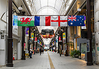 Rugby Union - 2019 Rugby World Cup - Quarter-Final: England vs. Australia<br /> <br /> Flags of the four quarter finalists on display in the shops around Oita, Oita Prefecture.<br /> <br /> COLORSPORT/ASHLEY WESTERN