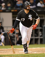 CHICAGO - APRIL 26:  Yonder Alonso #17 of the Chicago White Sox hits a home run against the Detroit Tigers on April 26, 2019 at Guaranteed Rate Field in Chicago, Illinois.  (Photo by Ron Vesely)  Subject:   Yonder Alonso
