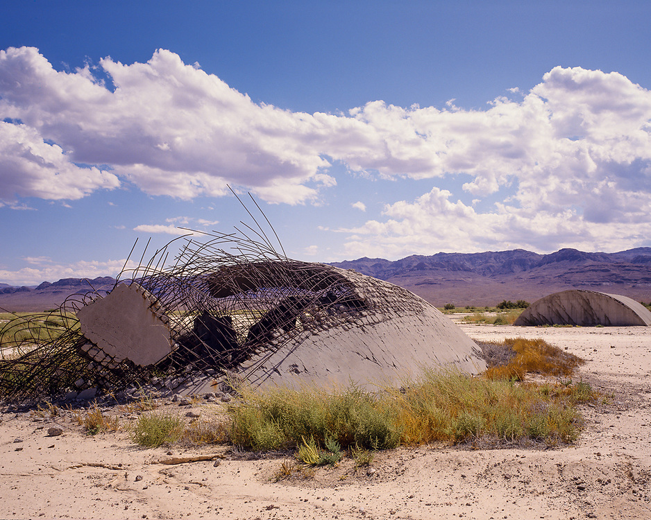 A structure destroyed by nuclear weapon tests  at Frenchman Flat, in the Nevada Test Site, 1990