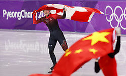 February 17, 2018 - Gangneung, South Korea - Short track speed skater Kim Boutin of Canada with withe her county flag after winning a bronze medal in the Ladies Short Track Speed Skating 1500M finals at the PyeongChang 2018 Winter Olympic Games at Gangneung Ice Arena on Saturday February 17, 2018. Jinyu Chn of China won the silver medal. (Credit Image: © Paul Kitagaki Jr. via ZUMA Wire)