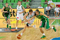 Zoran Dragic of Slovenia vs Mindaugas Lukauskis of Lithuania during friendly match before Eurobasket Lithuania 2011 between National teams of Slovenia and Lithuania, on August 24, 2011, in Arena Stozice, Ljubljana, Slovenia. Slovenia defeated Lithuania 88-66. (Photo by Vid Ponikvar / Sportida)