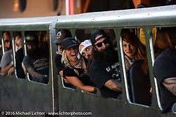 Jessi Combs rides the Mini-Train ride at  the Love Thy Chopper-10 pre-party at Lakeside Amusement Park, Denver, CO, USA. July 15, 2016.  Photography ©2016 Michael Lichter.