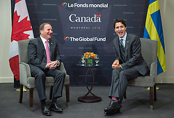 Prime Minister Justin Trudeau meets with Swedish Prime Minister Stefan Lofven at the Global Fund conference Saturday, on September 17, 2016 in Montreal, QC, Canada. Photo by Paul Chiasson/The Canadian Press/ABACAPRESS.COM