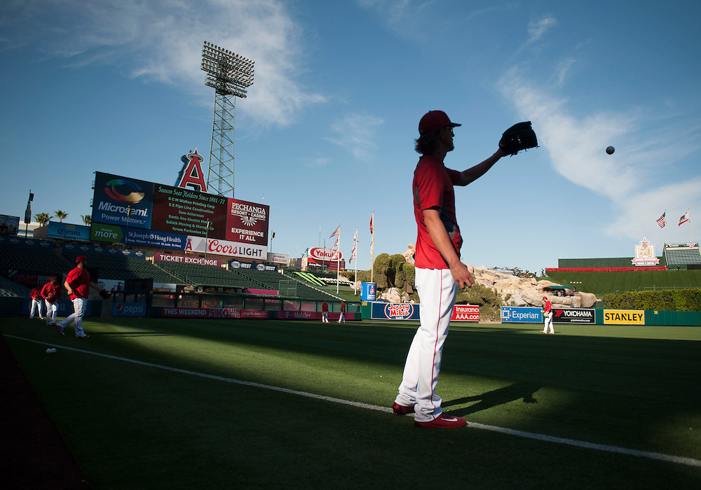 Jered Weaver plays catch before the Angels' home opener Monday at Angel Stadium.<br /> <br /> ///ADDITIONAL INFO:   <br /> <br /> angels.0405.kjs  ---  Photo by KEVIN SULLIVAN / Orange County Register  --  4/4/16<br /> <br /> The Los Angeles Angels take on the Chicago Cubs during their 2016 home opener Monday at Angel Stadium.<br /> <br /> <br />  4/4/16