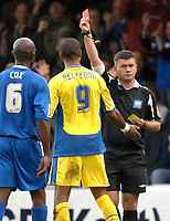 Photo: Ashley Pickering.<br /> Gillingham v Leeds United. Coca Cola League 1. 29/09/2007.<br /> Jermaine Beckford of Leeds (no. 9) becomes the second player of the afternoon to be dismissed by Ref Danny McDermid
