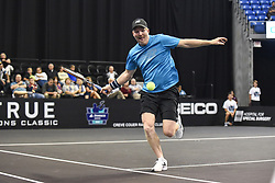 October 4, 2018 - St. Louis, Missouri, U.S - JIM COURIER rushes to return a soft lob shot during the Invest Series True Champions Classic on Thursday, October 4, 2018, held at The Chaifetz Arena in St. Louis, MO (Photo credit Richard Ulreich / ZUMA Press) (Credit Image: © Richard Ulreich/ZUMA Wire)