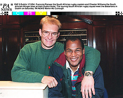 The South African rugby captain Francois Pienaar and the South African winger Chester Williams. Photo by Martin Mc Cullough/PA