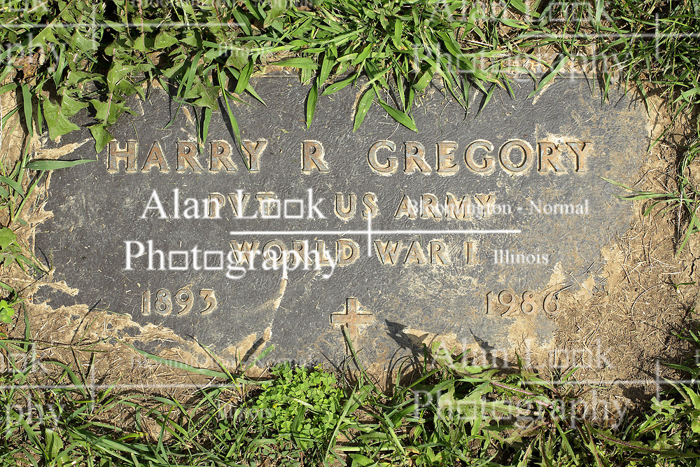 31 August 2017:   Veterans graves in Park Hill Cemetery in eastern McLean County.<br /> <br /> Harry R Gregory  Private  US Army  World War I  1893  1986