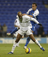 Photo: Aidan Ellis.<br /> Bolton Wanderers v Wigan Athletic. The Barclays Premiership. 04/11/2006.<br /> Bolton's Nicolas Anelka is challenged by Wigan's Danny Landzaat