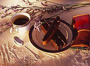 Chocolate biscotti and coffee prepared in the kitchen of Kirsten Dixon at Winterlake Lodge, Finger Lake, Alaska.