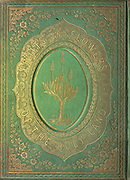 Green leather Gilded cover of the book Plants Of The Holy Land: With Their Fruits And Flowers, Beautifully Illustrated By Original Drawings, Colored From Nature by Rev. Osborn, H. S. (Henry Stafford), 1823-1894 Published in Philadelphia, By J.B. Lippincott & Co. in 1861
