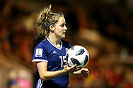 Sophie Howard (#15) of Scotland prepares to take a throw-in during the 2019 FIFA Women's World Cup UEFA Qualifier match between Scotland Women and Switzerland at the Simple Digital Arena, St Mirren, Scotland on 30 August 2018.