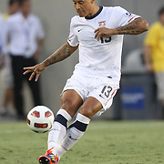 USA midfielder Jermaine Jones (13) kicks the ball during the first half of a CONCACAF Gold Cup soccer match between the United States and Panama on Saturday, June 11, 2011, at Raymond James Stadium in Tampa, Fla. (AP Photo/Alex Menendez)